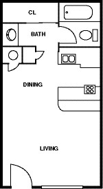Floor Plan - 0 Bedroom - 1 Bath