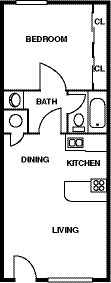 Floor Plan - 1 Bedroom - 1 Bath