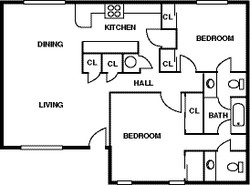 Floor Plan - 2 Bedroom - 1 Bath